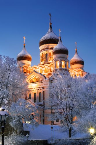 Church cathedral Alexander Nevsky in Tallinn in a night-time lighting